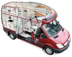 Mercedes Sprinter camper bathroom in the cut-away MB camper model - Google'da Ara