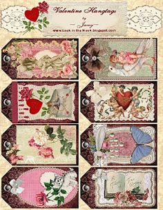 Look in the Nook: Printable Valentine Hangtags for Pink Saturday. Vintage Valentine Cards, Valentine Crafts, Printable Valentine, Printable Tags, Valentine Ideas, Vintage Tags, Vintage Labels, Card Tags, Gift Tags