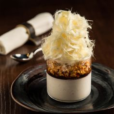 'Milk and Honey' (Greek Yogurt Panna Cotta, walnut praline, cinder toffee and condensed milk granite)