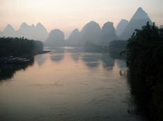 A romantic view showing the sunrise at YangShuo in China.