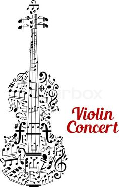Stock vector of 'Creative vector Violin Concert poster design with the shape of a violin composed of music notes and clefs in a random scattered pattern in a text cloud and the text - Violin Concert - alongside'