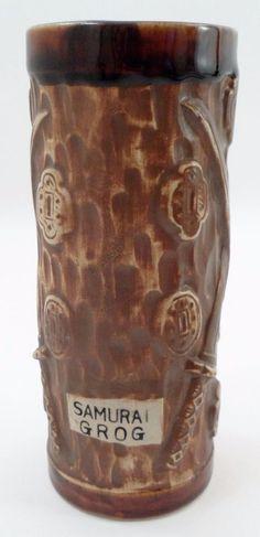 Samurai Grog Brown Drip Tiki Tropical Drink Mug w/ Raised Coins Crossed Swords