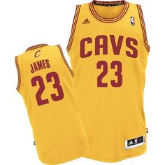 LeBron James Authentic In Gold Adidas NBA Cleveland Cavaliers #23 Men's Alternate Jersey