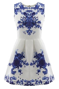 Floral Jacquard Sleeveless A-line Skater Dress