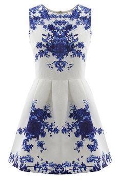 Floral Jacquard Sleeveless A-line Skater Dress