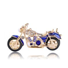 MOTORCYCLE Brooch Pin is Blue Enamel & Crystal Accents.Perfect Gift for a Motorcycle Enthusiast-Superior Quality: Jewelry Cheap Jewelry, Jewelry Gifts, Unique Jewelry, Jewelry Accessories, Jewelry Design, Women Jewelry, Fashion Jewelry, Designer Jewelry, Brooch Pin