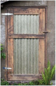 corrugated metal door we could make this into barn doors Shed Doors, Patio Doors, Entry Doors, Closet Doors, House Doors, House Wall, Entrance, Metal Building Homes, Bedroom Windows