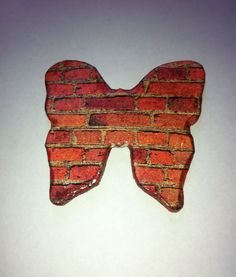 Orange Brick Butterfly Fridge Magnet #etsy, #MoggysMall, #butterfly, #fridge magnet, #brick, #decopatch