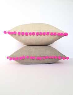 Linen Neon Pink Pom Pom Cushion Square Cotswold Cushion - Side