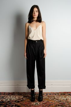 delicate top + cuffed trouser.