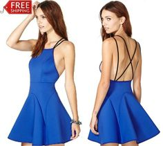 New Arrival Brand Fashion Popular Cross Black Double Spaghetti Strap Back Hollow Out Skirt Blue Pleated Homecoming Dress #404  $29.52