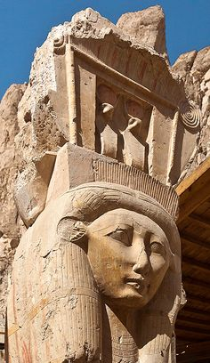 *EGYPT ~ Temple of Nesi (Pharaoh-Queen) Hatshepsut as Het-Heru (Hathor) High Priestess, Djeser Djseru (Deir al Bahri). Ancient Egyptian Art, Ancient Ruins, Ancient Artifacts, Ancient History, European History, Ancient Greece, American History, Egyptian Mythology, Egyptian Goddess