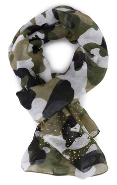 Deb Shops Camo Woven Scarf with Star Studs $9.00