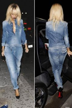 Rihanna new hair Armani washed jeans jumpsuit Jumpsuit Outfit, Jeans Jumpsuit, Mode Outfits, Jean Outfits, Combi Jean, Rihanna, Denim Fashion, Fashion Outfits, Asos Fashion