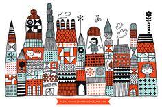 Doodle Town  Print por HappyDoodleLand en Etsy, $20.00