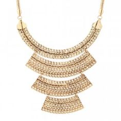 Mood Textured Four Tier Gold Plate Necklace #festival #fashion