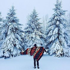 Is there anything better than the silent sound of snowfall? Photo of #vintage Pendleton blanket by  @jasenko9 #pendleton #snow #nature #winter #explore #madeinUSA