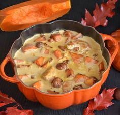 stew of pumpkin and chestnuts turkey- blanquette de dinde potiron et marrons stew of pumpkin and chestnuts turkey - Chefs, Crockpot Recipes, Healthy Recipes, Good Food, Yummy Food, Batch Cooking, Quorn, Junk Food, Food Porn