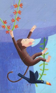 Childrens Book Illustration by Katharine McEwen #monkey