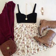 Black crop top, floral skirt, burgundy sweater, light brown combat boots, and a small cute cross body purse Cute Fashion, Teen Fashion, Fashion Outfits, Womens Fashion, Fashion Clothes, Vintage Fashion, Pretty Outfits, Fall Outfits, Cute Outfits