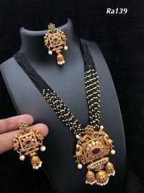 Multi String Long Haram Jewellery For Girls Online Gold Mangalsutra Designs, Gold Jewellery Design, Gold Jewelry, Beaded Jewelry, India Jewelry, Bridal Jewellery Inspiration, Bridal Jewelry, Pearl Necklace Designs, Necklace Set
