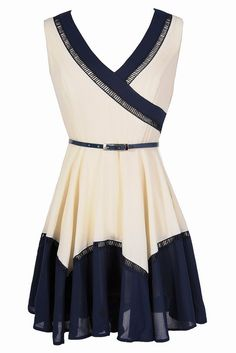 Cute Colorblock Dress, Navy and White Dress, Belted Navy Dress, Cute Summer Dress, Colorblock Fun Belted Dress in Ivory/Navy