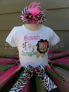 Custom Tutus..SAFARI JUNGLE TUTU set 3691218 by fairyfashions 2nd Birthday Shirt, First Birthday Tutu, 2nd Birthday Parties, Birthday Ideas, Safari Outfits, Kids Outfits, Baby Outfits, Adult Party Themes, Kids Tutu