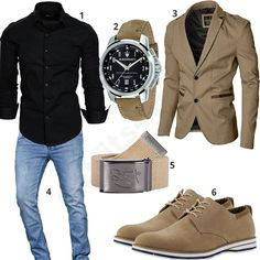 Chic business style for men with black Amaci & Sons shirt, Maserati wristwatch, beige Moderno jacket, 2stoned fabric belt, classic lace-up shoes and light blue A. Salvarini jeans. 1. Shirt► amzn.to/2nh0LGt 2. Clock► amzn.to/2DIB2lk 3. Jacket► amzn.to/2ng2sF6 4. Pants► amzn.to/2EgxiEL (-56%) 5. Belt► amzn.to/2DHWnvp 6. Shoes► amzn.to/2nj5mYP