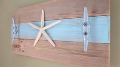 Starfish Towel Hooks in light Blue Natural Wood upcycled recycled nautical wall decor boat cleat coat hooks beach ocean seaside decor