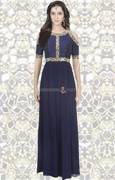 Buy Captivating Midnight Blue  Stitched Empire Waist  Gown  Dress. This  Length 4956a1ea0