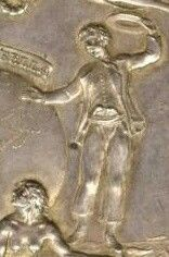 """Detail from Louisbourg Captured"""" award medal, Thomas Pingo, 1758,Colonial Williamsburg."""