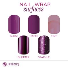 Did you know that there are different surfaces for Jamberry Nail wraps! There is also Metallic ! :) https://christinevelazquez.jamberry.com/