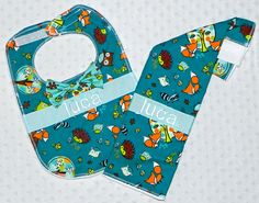 Personalized Burp Cloth and Bib Set with Bow Tie - Baby Boy Lime Teal and Orange Fox and Forest Friends