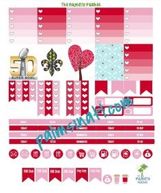 Free Printable February Planner Stickers at The Palmetto Peaches