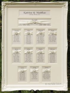 Our luxury framed wedding table plans are in a class of their own! Elegant and stylish and made with plenty of TLC! Can be designed to match any wedding theme and colours. 40 tasteful adornments to choose from. SHOWN: OFF WHITE ORNATE FRAME WITH IVORY DOUBLE APERTURE (2 LAYERS) OF MOUNT BOARD, BRIDAL WHITE RIBBON AND 'EMILY' JEWEL/ADORNMENT.