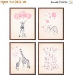 Baby Girl Nursery Decor Girls Nursery Art, Baby Girl, Gifts for Girl, Animal Nursery Art, Baby Nursery Decor, Set of Four, Prints