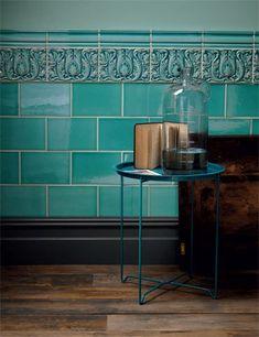 Kitchen tiles wall green fired earth 58 Ideas for 2019 Architectural Digest, Edwardian Haus, Edwardian Bathroom, Edwardian Hallway, Porch Tile, Victorian Tiles, Victorian Flooring, Regal Design, Interior Exterior