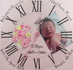 Cute idea for baby scrapbook. what time the baby was born :) If this isn't to perfect!!!!! The details are great...hands represent time of birth!!