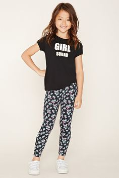 Forever 21 Girls - A pair of cotton-blend knit leggings featuring an allover floral print and elasticized waist.