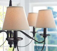 Dining room light fixture - PB Basic Linen Chandelier Shade, Set of 3 #potterybarn