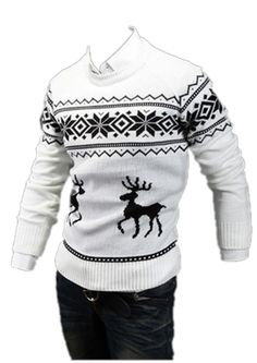 QualityUC Mens American Clothes Fashion Moose Sweater