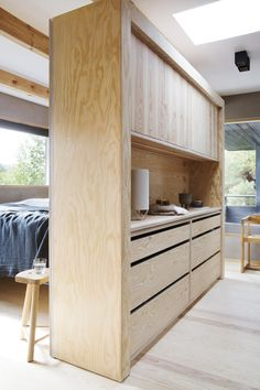 Complete interior for a private home in Kristiansand Chatham House, Pine Bedroom, Master Bedroom, Pine Kitchen, Pine Plywood, Kristiansand, Wood Interior Design, Solid Pine, Bedroom Storage