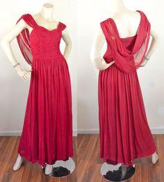 Vtg 30s Red GRECIAN GODDESS Chiffon Dress Evening Gown BIAS CUT Hollywood Glam #Vintagenolabelpresent