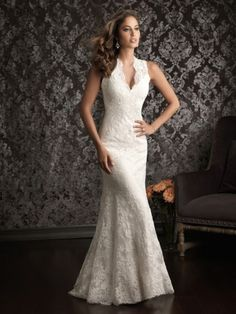 Trumpet/Sjöjungfru V-neck Sweep Släp Spets Bröllopsklänningar