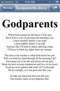 Godparent Poem. I am making a brag book on Shutterfly for my daughters godparents as their gift at the baptism. I wrote this poem to include.