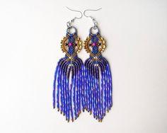 Bohemian long fringe micro macrame earrings  by MartaJewelry
