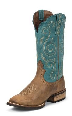 6b49d959253 Women s Justin Tiger Tan Buffalo- 11in Turquoise Top Cowgirl Boots Item    SVL7204 Buffalo Boots