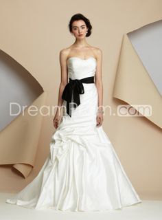 Awesome+A-Line+Sweetheart+Floor-Length+Chapel+Ruched+&+Sash+Wedding+Dresses