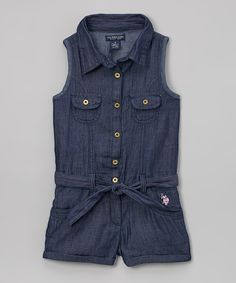 Another great find on #zulily! Blue Belted Romper - Infant, Toddler & Girls by U.S. Polo Assn. #zulilyfinds