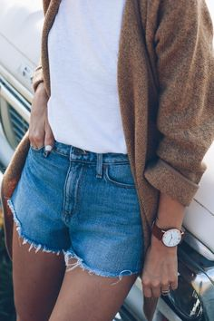 paige denim cut-offs and a light cardigan for late summer